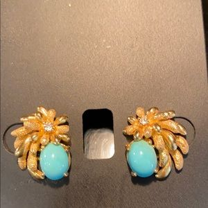 Diamonds Turquoise Cabochon 14kt gold Earrings